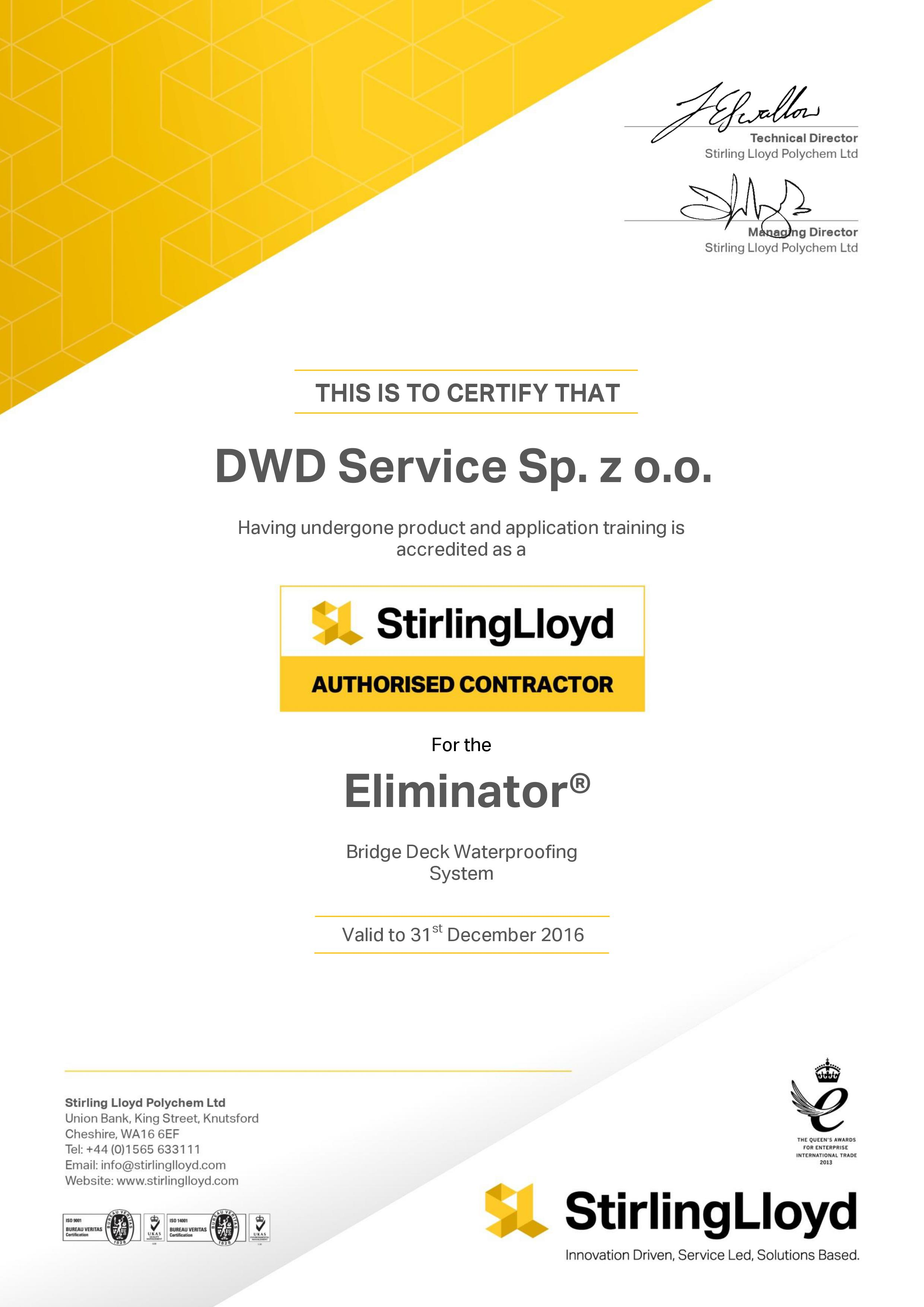 Certyfikat Stirling Lloyd
